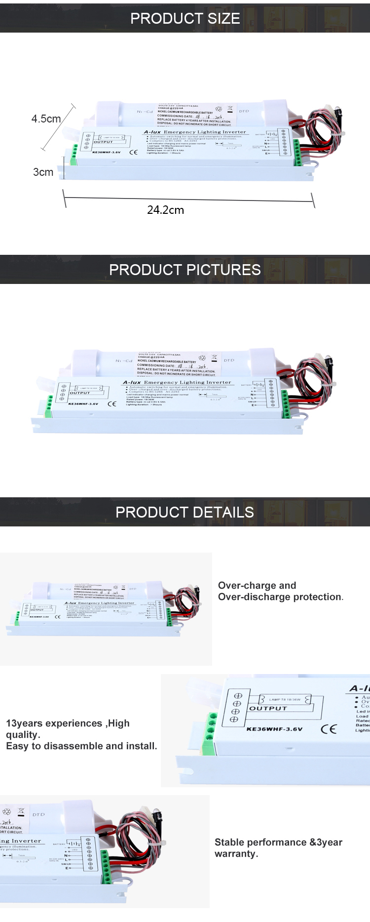 T8 18-36 W incorporar de emergencia kits de conversión de alta calidad con balasto electrónico