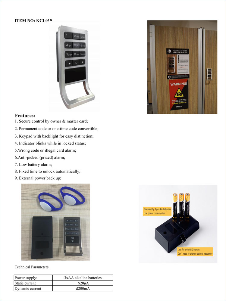Hot Selling HPL Locker Cabinet Electronic RFID Digital Lock with Master Key