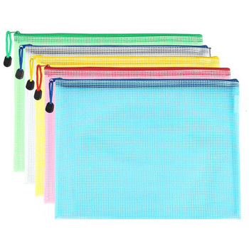 Plastic Document Bag Grid Transparent PVC Zipper Stationery Pouch Filing Products Bag A4 file Bag