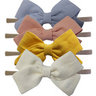 Baby Toddler Girls Cotton Linen Fabric bow headbands Hair bows Skinny Stretchy Elastic hair bands Hairband Outfit Headwear
