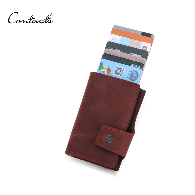 dropship CONTACTS coffee color small wallet wholesale black pop up metal case box for 7 cards mens cardholder with coin pocket