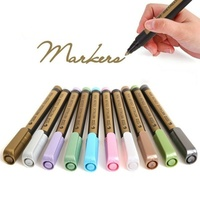 10 Colors Fine Metallic Markers Paints Pens Art Permanent Writing Markers for Photo Album Gift Card DIY Craft Kids stationery