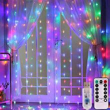3 м светодиодный USB пульт дистанционного управления, занавески, рождественские гирлянды, огни феи, светодиодный светильник, вечерние, для са...(Китай)