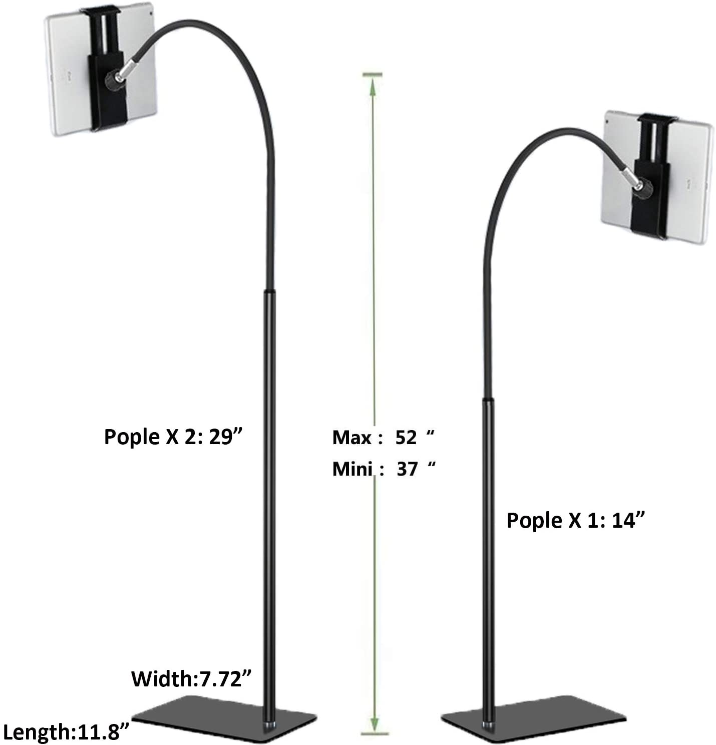 Adjustable 360 Degree Rotating Floor Stand for iPad Tablet Stand Cell Phone Stand with Flexible Gooseneck and Stable Base