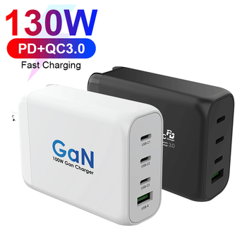 Multi-port PD GaN 130W Quick Charge 130W Fast PD USB Wall Charger for Apple Laptop For iPad And Mobile Phone