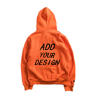 Design Your Own Fashion Fitted Pullover Hoodie Men Bulk Wholesale Heavyweight Orange Kangaroo Hoodie