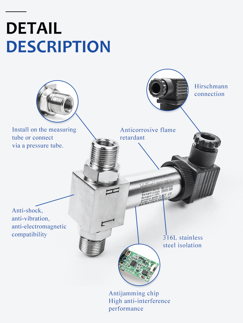 low cost 4-20ma smart pressure transmitter cms differential pressure sensor