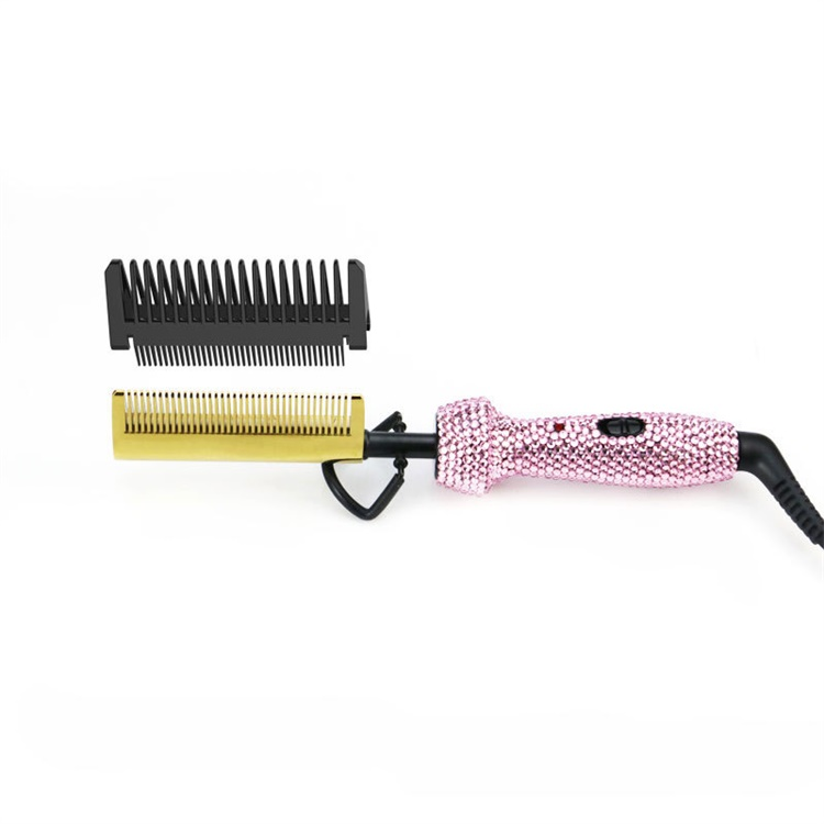 manufacturer 2 in 1 fancycrystal diamond rhinestone travel pink portable <strong>steel</strong> multifunctional electric <strong>hair</strong> <strong>comb</strong>