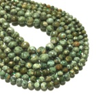 Green Rhyolite Green Agate Faceted Round Loose Beads Healing Energy Gemstone for Jewelry Making DIY Bracelet & Necklace Design