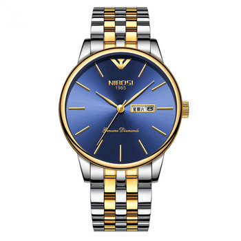 2019 hot sale Golden Double Calendar Solid Steel Belt Watch Butterfly Button Deep Waterproof Men's Watch
