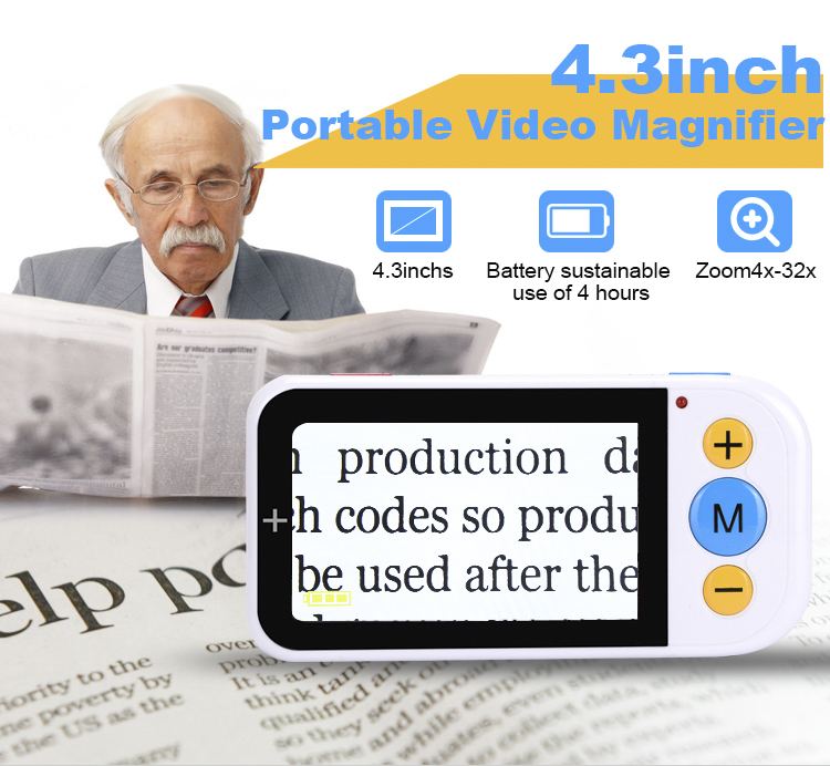 Portable Digital Magnifier 4.3 Inch Screen 4X-32X Zoom Auto Focus  for Low Vision People