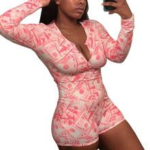 Сексуальная пижама для женщин с длинным рукавом ночная рубашка шорты комбинезон одежда для сна спортивный костюм летний комбинезон для сна...(Китай)