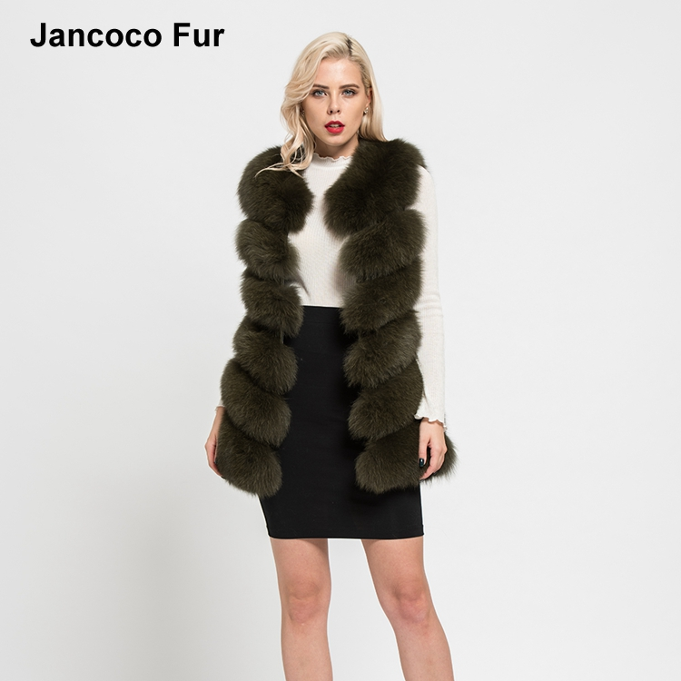 New Real Fox Fur Long Vest Autumn Winter Warm 6 Rows Gilet Women Casual Soft Waistcoat Top Quality S7167