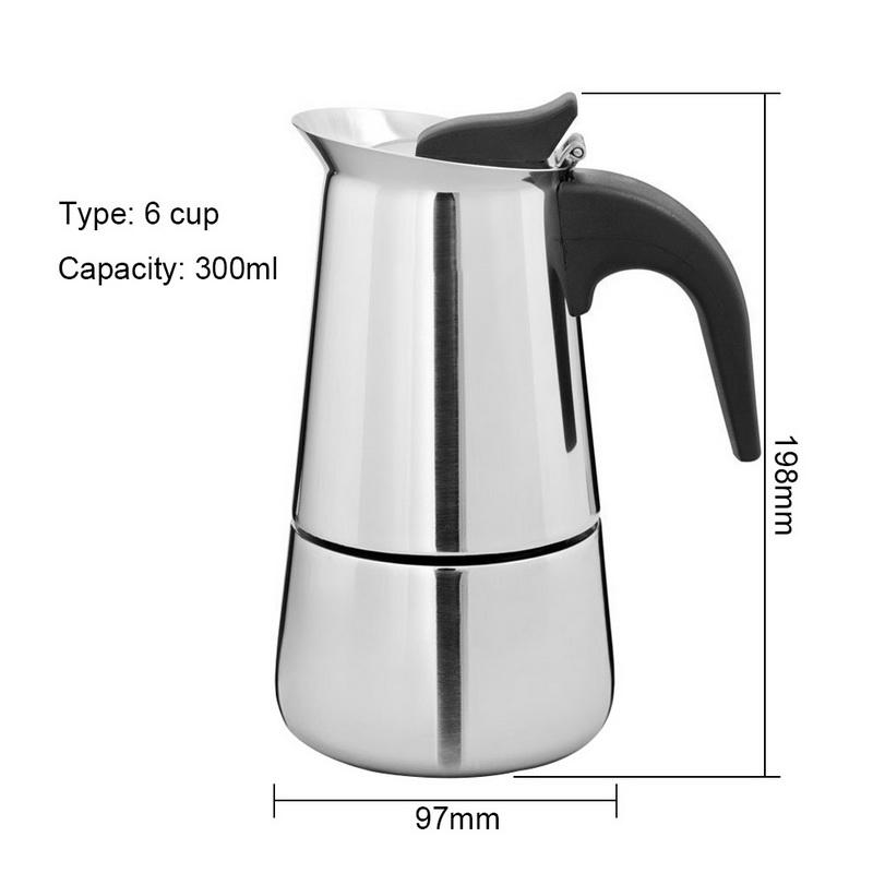 100 мл/200 мл/300 мл/450 мл Moka Express 2/4/6/9 чашки Ёмкость Нержавеющаясталь Кофе чайник горшок Кофе, тем самым позволяя зернам раскрыться предохраните...(Китай)