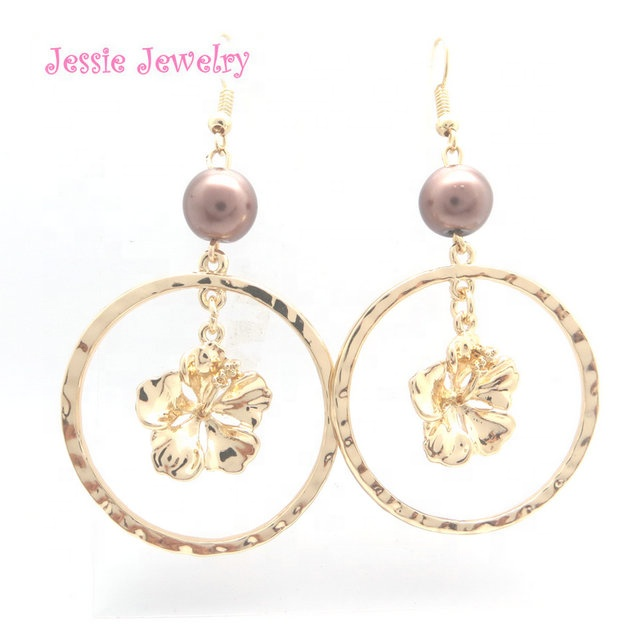 R239 hawaiian jewelry plumeria <strong>flower</strong> <strong>earrings</strong> <strong>gold</strong>