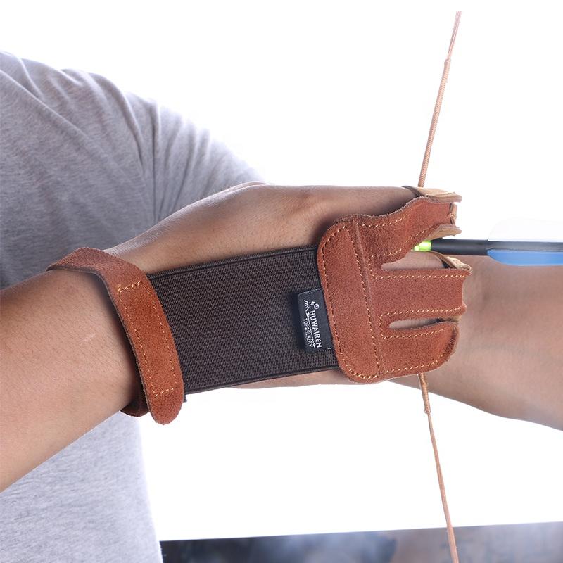 Arco De Dedo Protector De Dedo Disparar Finger Tab Cuero Tiro con Arco Finger Guard para Caza Al Aire Libre