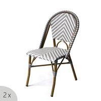 Wholesale Discount Bistro Outdoor Balcony French Cafe Rattan Aluminum Wicker Chair