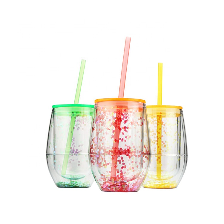 High quality popular custom color funny beer drink creative wholesale plastic double wall glitter tumbler cups with straw