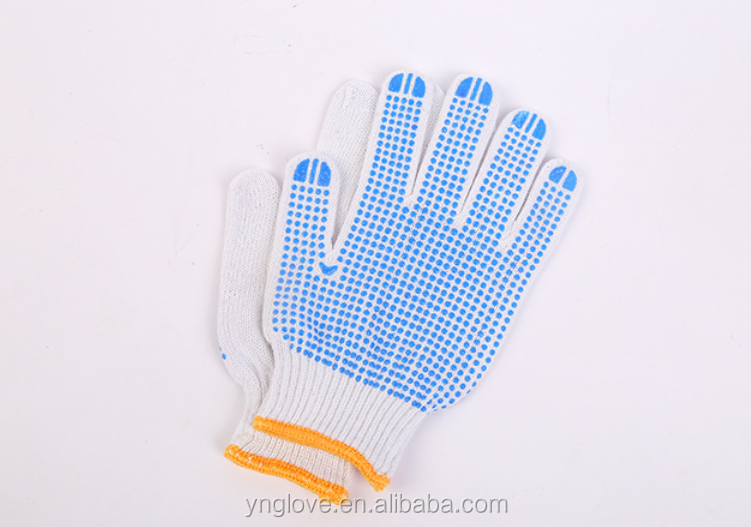 pvc dotted cotton working gloves for construction works