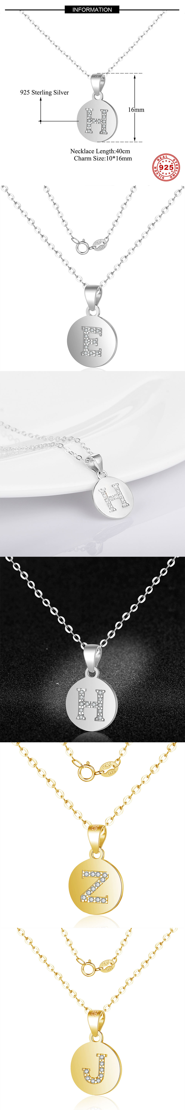Hot Sale Europe Fashion 26 Letters Sexy S925 Sterling Silver Necklace for Women