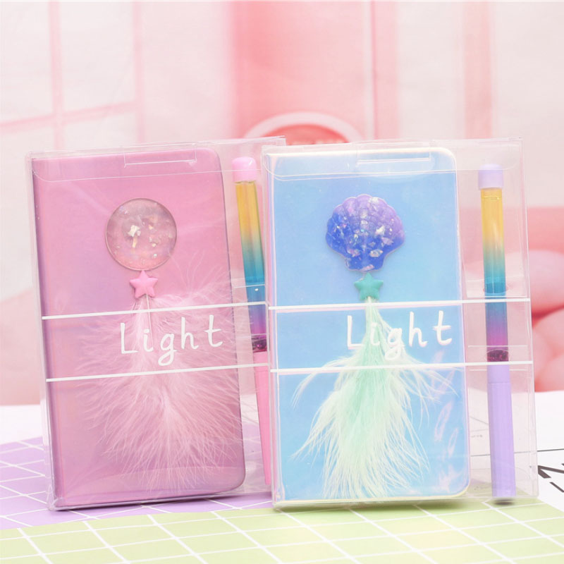 Pink Laser Color Feather shell notebook blank DIY creative doodle notebook pen gift set for girls wedding birthday present