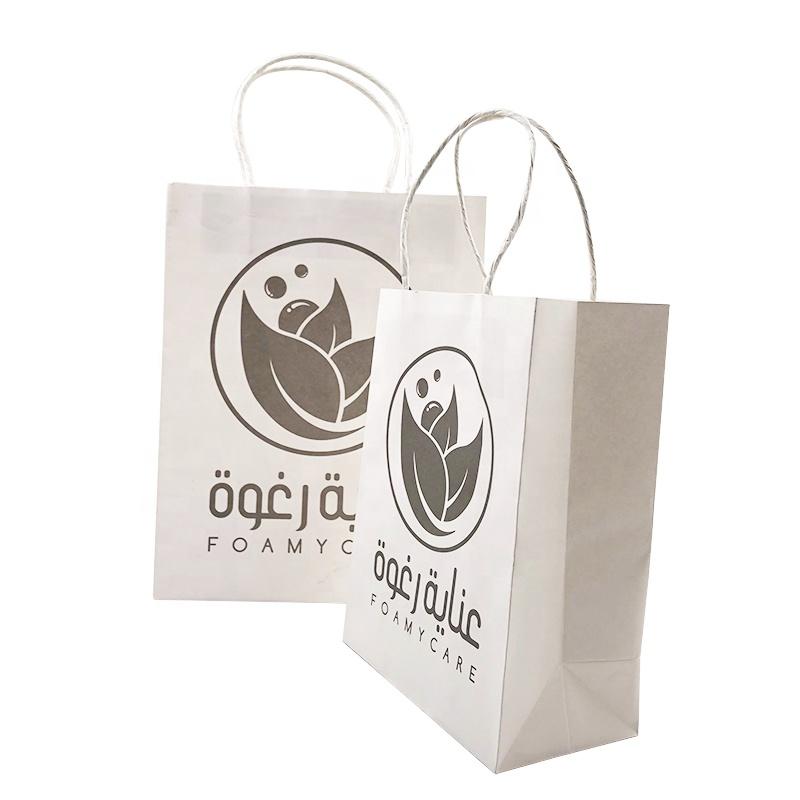 Logo personalizzato di lusso riciclato Piazza Fondo bianco carta di carta regalo di imballaggio per alimenti di shopping bag con manico