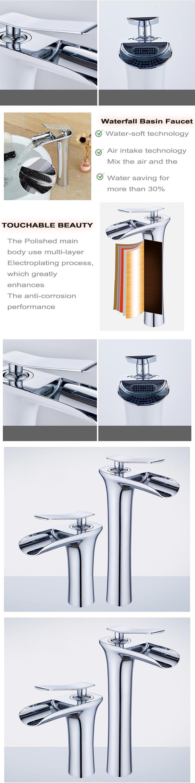 Single Handle Deck Mounted Waterfall Upc Basin Faucet Mixer Tap