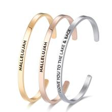 Mode Emas Stainless Steel Kustom Positif Inspirational <span class=keywords><strong>Gelang</strong></span> Manset Terukir Bangle