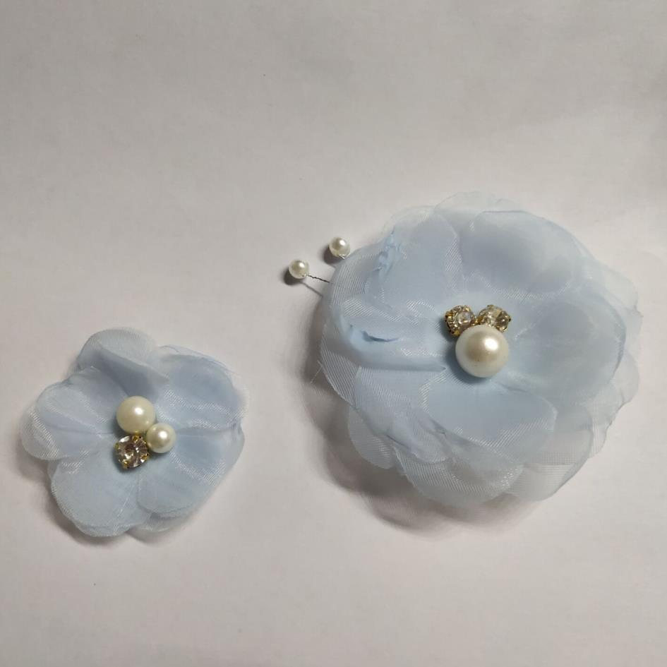 Hot sell beautiful light blue 3d handmade decorative fabric flowers for clothing