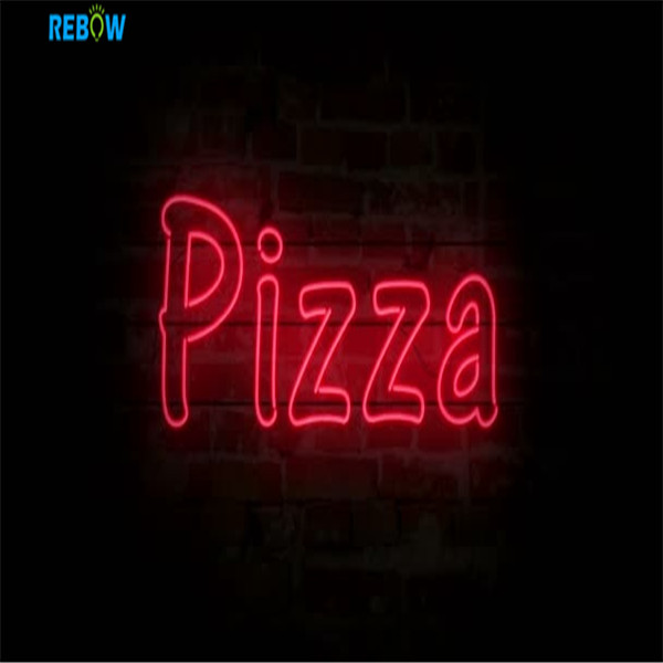 High-end Acrylic LED Neon LightBattery Powered  Rolling Stones Pizza Neon Sign