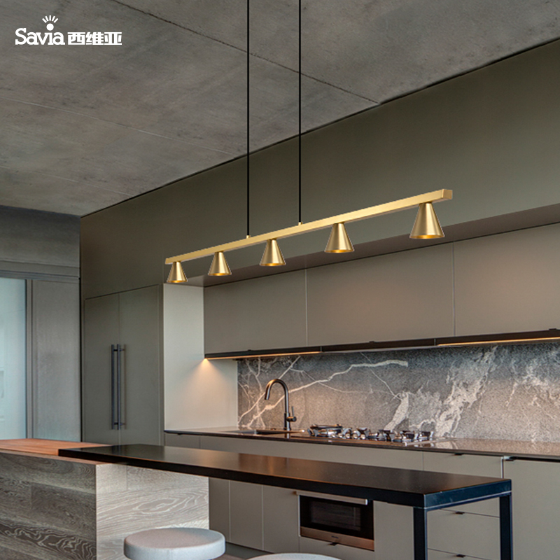 Savia LED 5xGU10 Modern Indoor Kitchen Island Designer Ceiling Chandeliers Lamp Copper Brass Gold Pendant Light For Dining Room