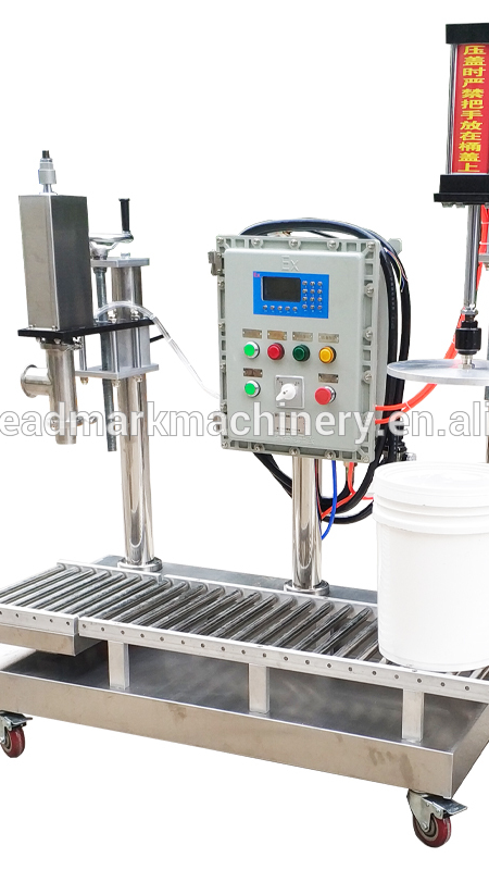 Chinese style plastic can pack filling capping and labeling machine for paints/coatings/inks/glues/emulsions