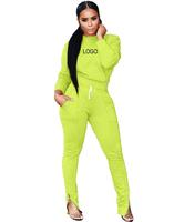 Customized Logo 2019 Autumn Cheap Women Sets Feet Zip Matching Sweat Suits for Women Blank Jogging Suits Wholesale Tracksuits