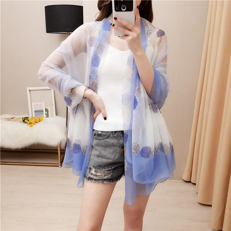 Rose pattern spring and autumn scarf women with soft yarn sunscreen new shawl dual-purpose neck