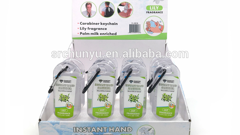 USA UK 60ml 2fl Oz display box Pocket Scented Hand Washing Sanitizer Gel with swivel hanging clip