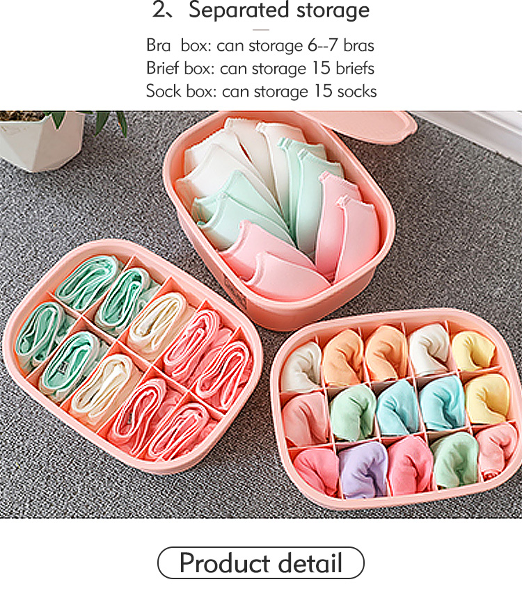 Hot Sale Classification Plastic Bras Sock Organizer  Underwear Storage Box  with Lid