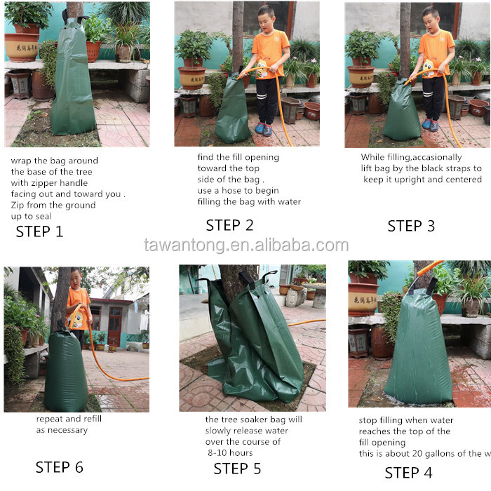 20gallon Green PVC Tree Watering Bag for Irrigation ,tree bag watering bag for trees 75 l