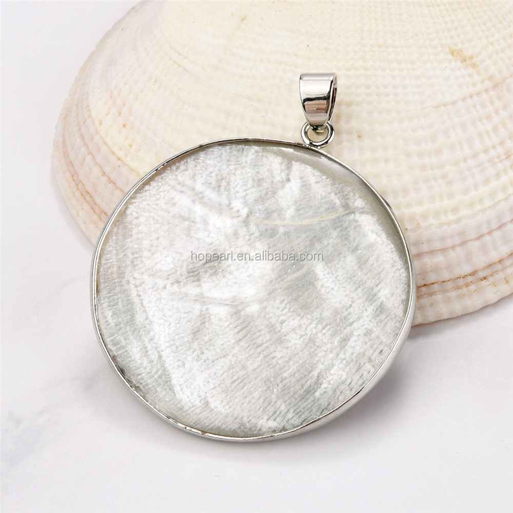 MOP181 Boho Chic Ocean Jewelry Rainbow Colors Simple Round Disc Abalone Shell Organic Cabochon Pendant