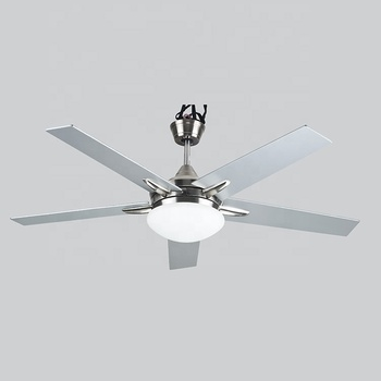 52 inch New Design Hot Sales Brushed Nickel Ceiling Fan Lights with 5 Plywood Blades, include Wall Control