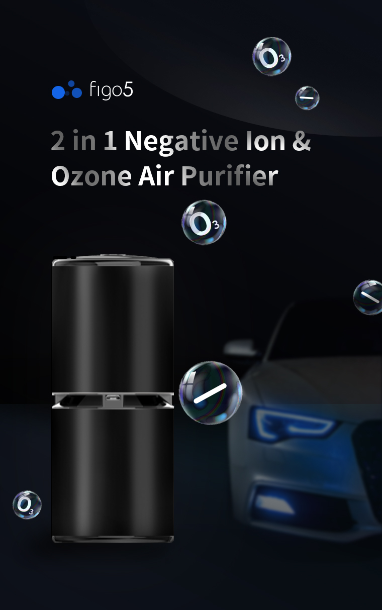 Auto Battery Powered Ozone Generator And Anion Metal Air Fresher Purifier In Car