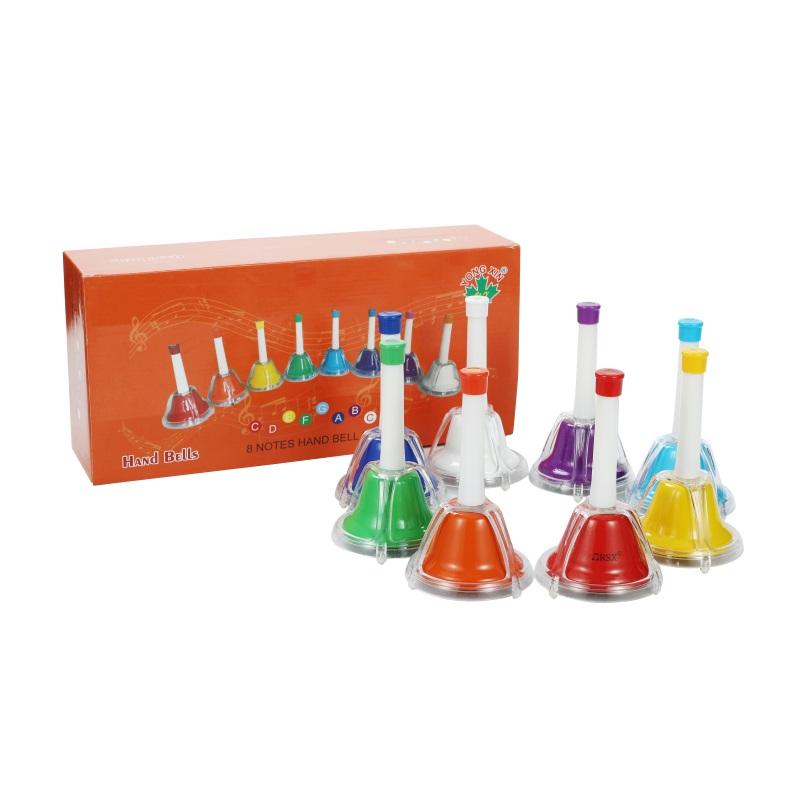 children 8 note rainbow color music hand bells handbell set toys factory for school hand