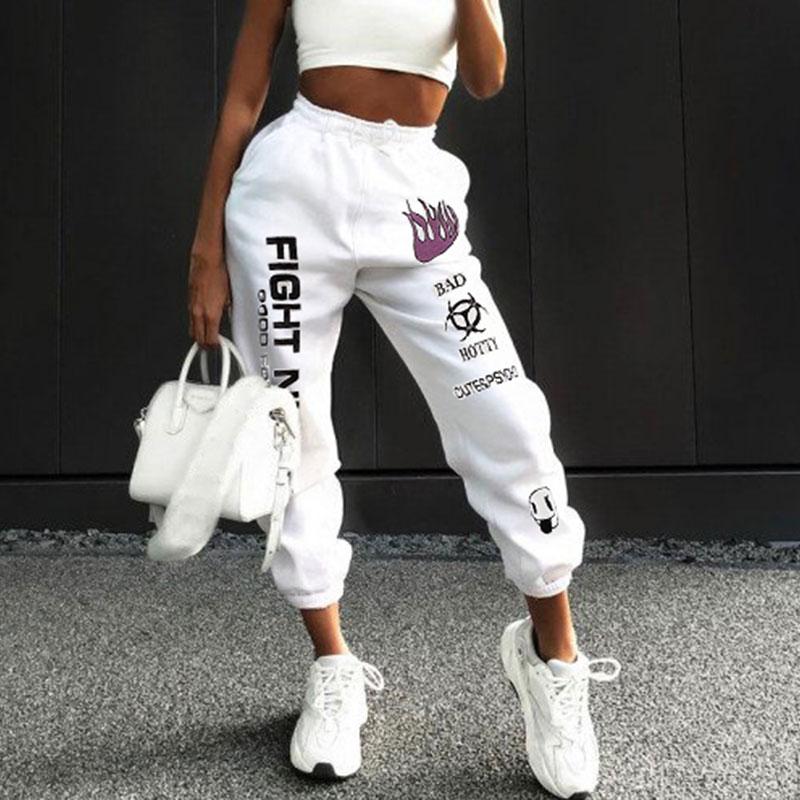 Graffiti Harem High Waist Drawstring White Cotton Street Stacked Sweatpants Joggers Mujer Women