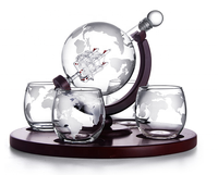 Globe Spirits Decanter with Matching Glasses and Bar Funnel Handcrafted Whiskey and Wine Decanter