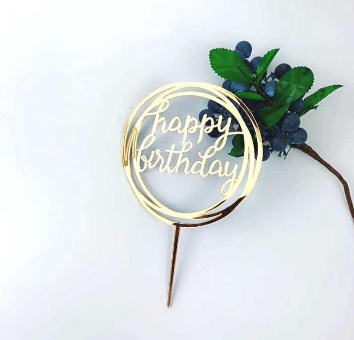 Wholesale Gold <strong>Cake</strong> Topper for Christmas Theme Happy Birthday Party Supplies Cupcake Topper <strong>Accessories</strong>