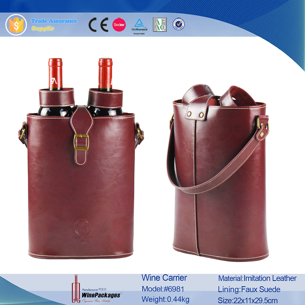 bottle glass tote leather wine carrier bag