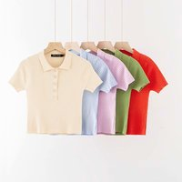 Z10923A Fashion solid color five-button POLO collar T-shirt knit T-shirt