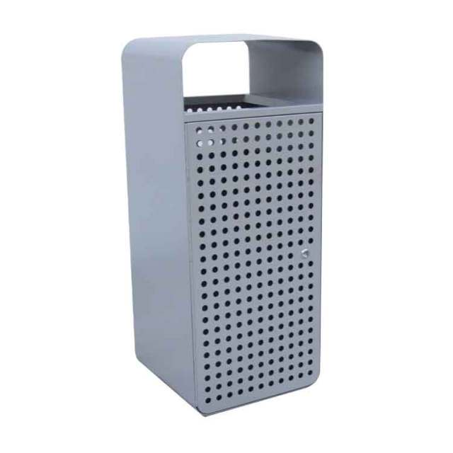 High quality outdoor park eco-friendly perforated standing Galvanized metal garbage bin garden square trash bin waste receptacle