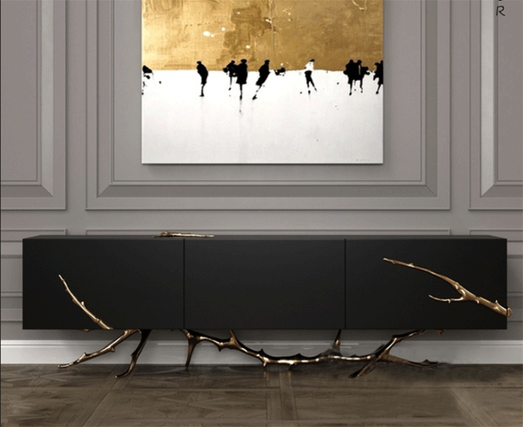 Contenporary TV stand luxury gold copper legs sideboard for living room decoration