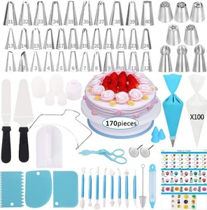 Amazon Hot Sale 170 PCS Cake Decorating Tips Set Pastry Cookie Cupcake Decorating Supplies Baking Tools Kit Piping Icing Nozzles