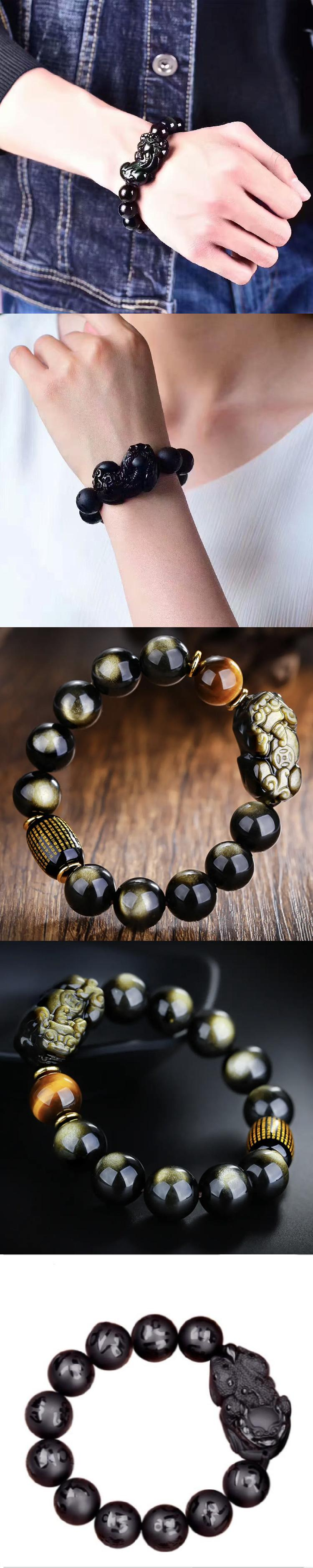 Valentine's day gifts obsidian pixiu charms for bracelet making jewelry bracelets women